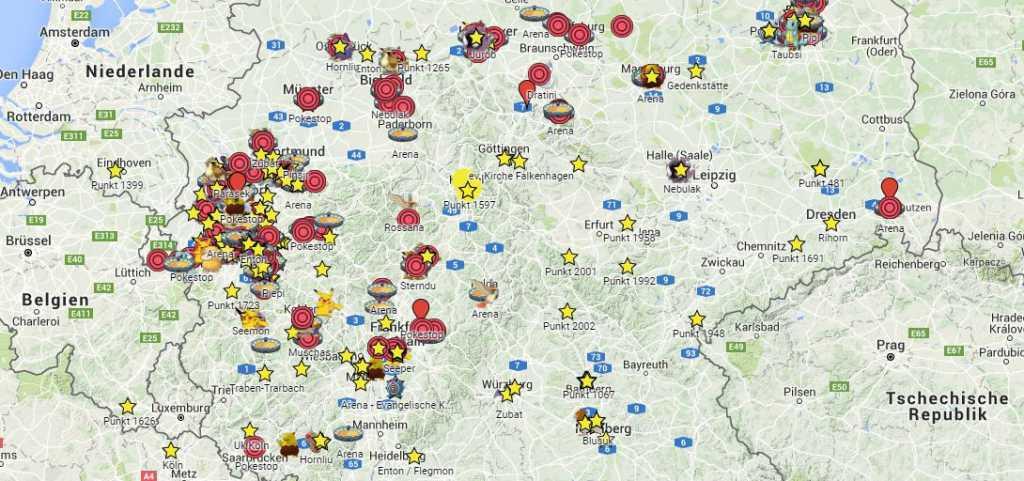 pokestop karte Google Karte zeigt euch Standorte von Arenen, Pokestops, Pokemon